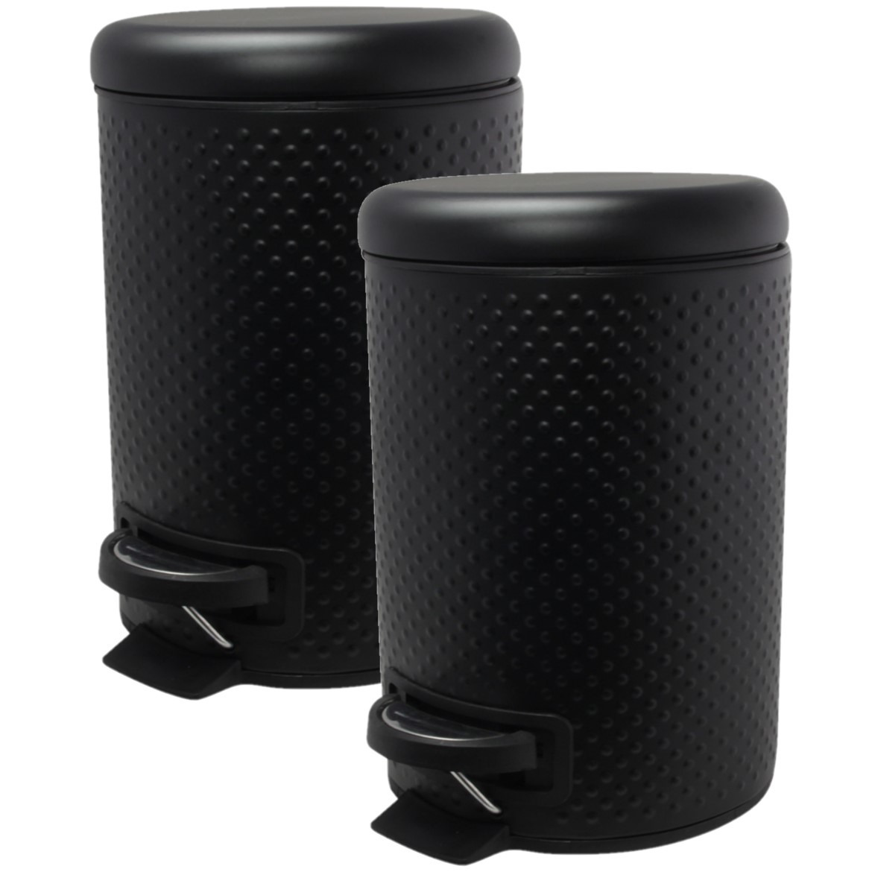3x stuks vuilnisbakken pedaalemmers zwart gehamerd design 3 liter 25 cm