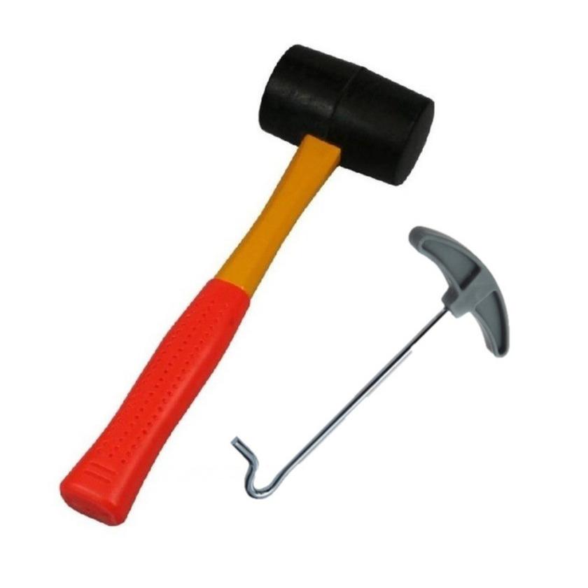 Rubberen hamer campinghamer 450 gram inclusief tent haringen uittrekker